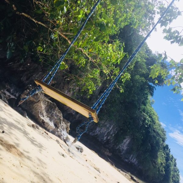 we found this swing on San Luis beach! It took paradise to a new level!